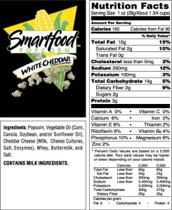 Nutritional Information for Smart Foods White Cheddar Popcorn