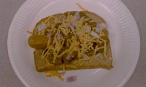 Vegan chili cheese dog!